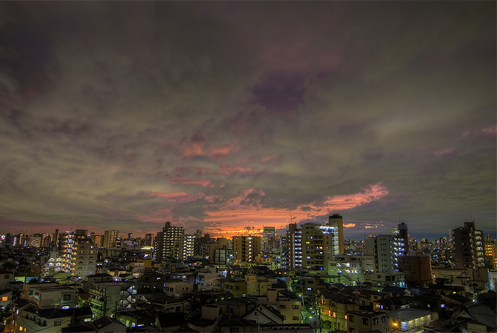tokyo sunset from balcony hdr