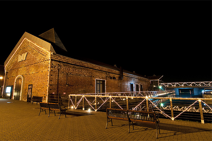 hakodate red brick warehouse night