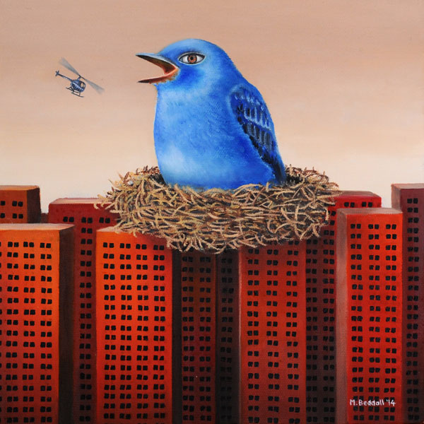 painting blue bird nest buildings surreal