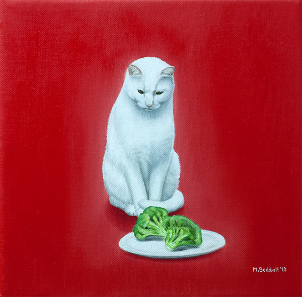cat white broccoli red green hunt diet confusion disappointed