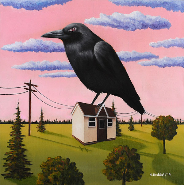 bird crow house surreal painting