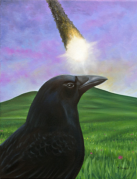 crow raven meteor painting