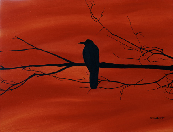 crow raven silhouette painting