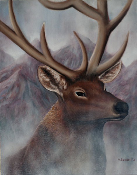 deer in the mist painting
