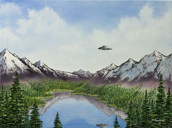 forest mountains lake aliens ufo spaceship nature landscape