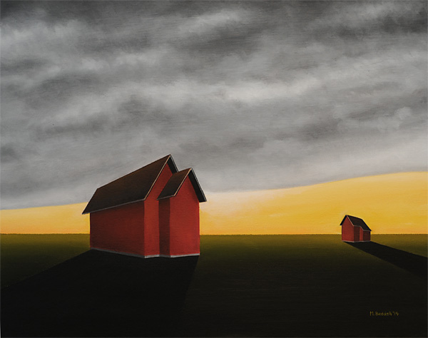 painting houses dark empty landscape shadow contrast