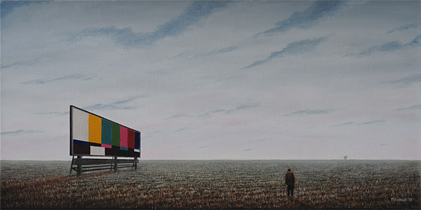 empty field dawn billboard no signal mortality freedom loneliness painting