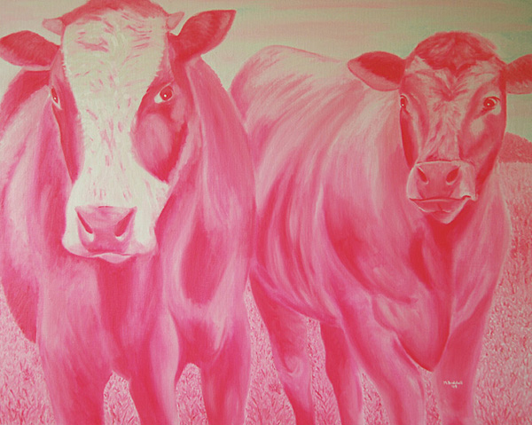 pink cows painting