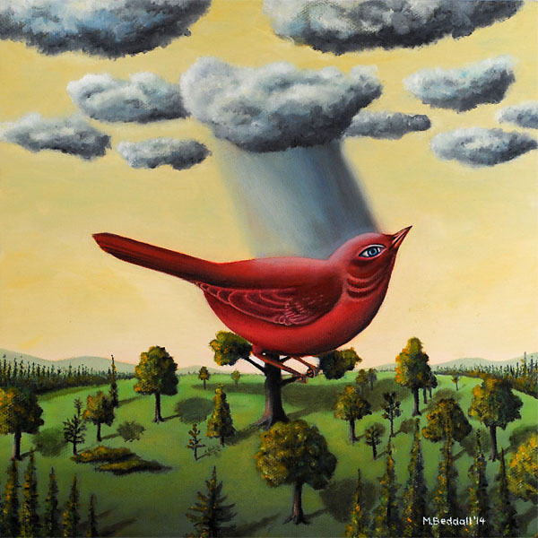 painting red bird rain cloud surreal eye trees