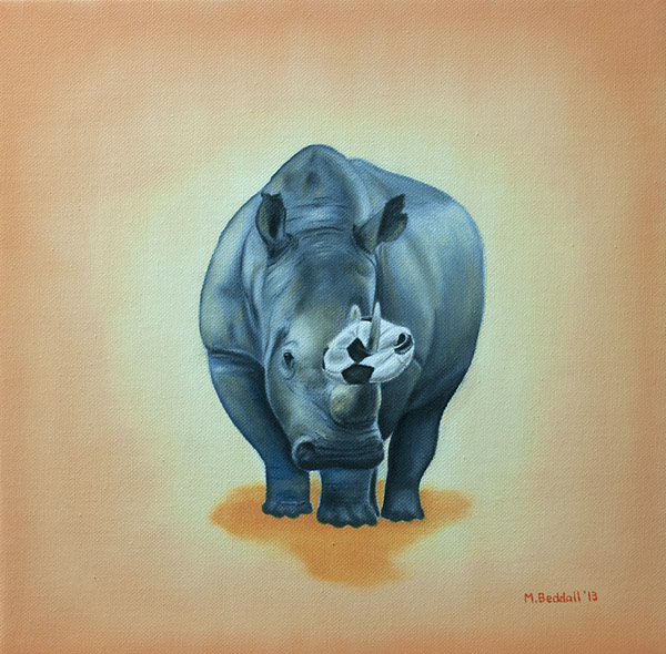 rhino horn soccer ball rhinoceros sports team picked last painting
