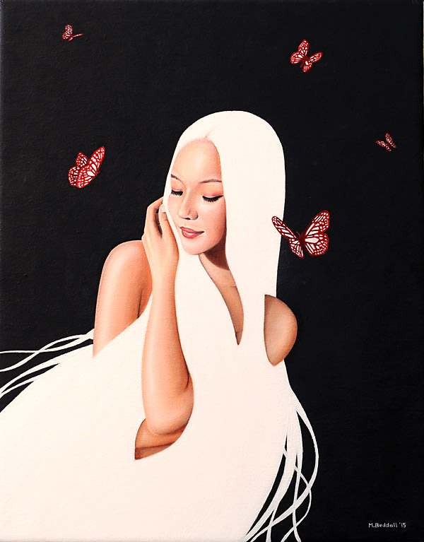girl beautiful white hair butterfly painting