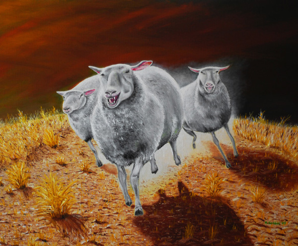 sheep on the hunt painting