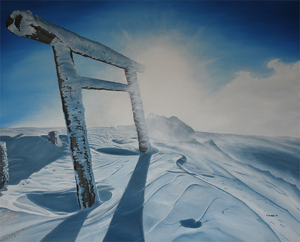 torii mountain winter ice painting