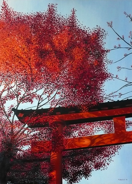 torii shrine red leaves painting