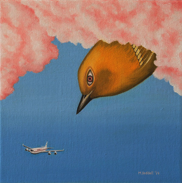 warbler clouds airplane painting surreal eye