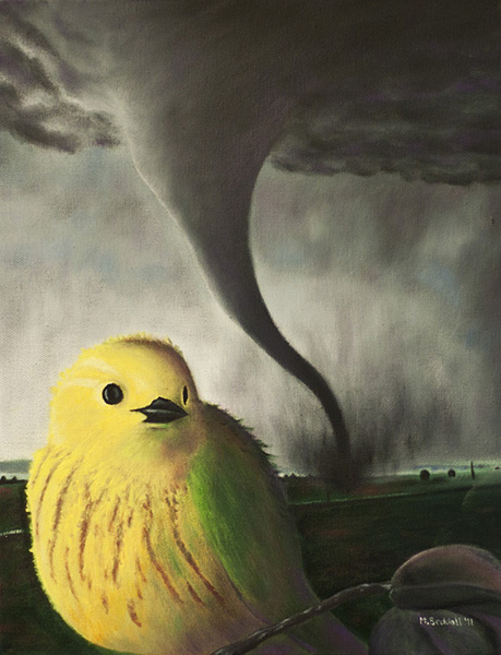 yellow warbler tornado painting