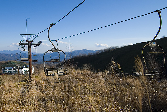 ski lodge haikyo ruins chairlift and lodge