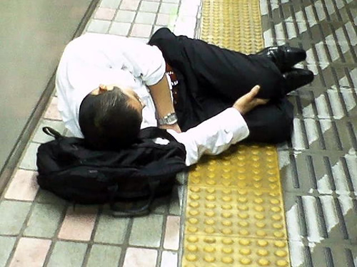 Homeless Salaryman - Sleeping on Platform